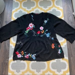 Johnny Was Floral Embroidered Peasant Top